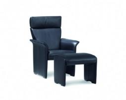 leder konia black - fauteuil mobiel - met verstelbare hoofdsteun + poef
