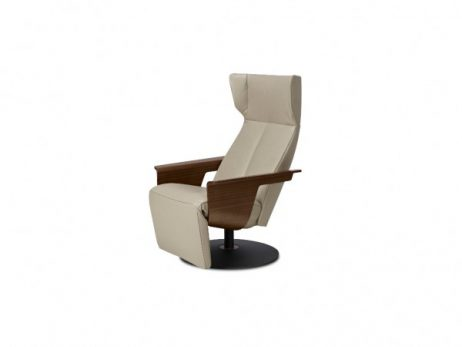 leder lipano taupe - relaxfauteuil standaard zithoogte 45 cm, armleggers notelaar