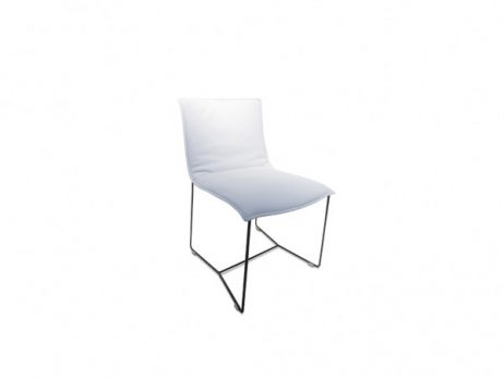 leder konia bianco - stoel laag onderstel epoxy zwart